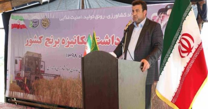 نخستین برداشت مکانیزه برنج کشور در استان مازندران