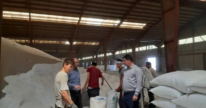 بازدید مدیر شرکت خدمات حمایتی کشاورزی استان گلستان  از روند تخلیه و کیسه گیری کود فله در انبار سازمانی گرگان